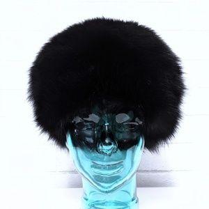 Vintage Marche Black Fox Fur Hat
